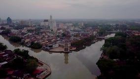 Красивый вид с воздуха Tanjung Chali Kedah Малайзии от взгляда сверху сток-видео