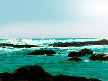 Красивый вид Cyan моря цвета стоковое фото