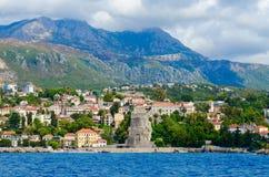 Красивый вид Herceg Novi и крепости конематки сильной стороны от моря, Черногории Стоковое Изображение