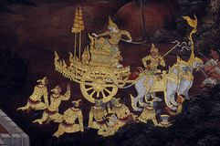 Красивый висок Wat Phra Si Rattana Satsadaram Wat Phra Kaew стены искусства в Бангкоке Стоковое Изображение RF