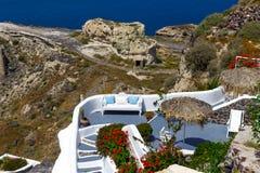 Красивый вид в Santorini, Греции Стоковое фото RF