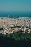 Красивый вид города Барселоны, ретро цвет Стоковое Фото