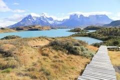 Красивый вид национального парка Torres Del Paine, Патагония c Стоковая Фотография RF