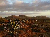 Красивый вид обозревая ржавую красную пустыню, дистантные горы в острове Фуэртевентуры, Canaries, Испании Стоковая Фотография