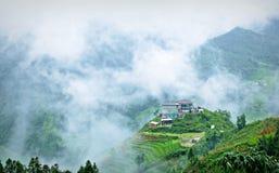 Красивый вид дома в террасе риса Стоковое фото RF