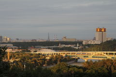 Красивый вид от холмов Москвы воробья Стоковые Изображения