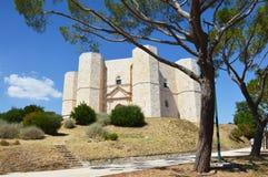 Красивый вид Castel del Monte, известного замка построенного в восьмиугольной форме святым римским императором Фредериком II в 13 Стоковое Фото