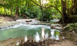 Красивый водопад в лесе тропическом и ландшафте Перемещение и каникула стоковые изображения