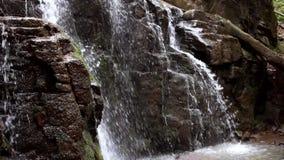 Красивый водопад в скалистой горе Подача воды покатая в одичалом лесе видеоматериал
