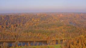 Красивый воздушный взгляд утра золотой осени в Sigulda, Латвии сток-видео