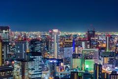 Красивый воздушный взгляд ночи городского пейзажа Осака, Японии Стоковое Изображение