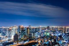 Красивый воздушный взгляд ночи городского пейзажа Осака, Японии Стоковая Фотография