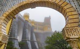 Красивый дворец romanticist с въездными ворота в тумане Стоковая Фотография RF