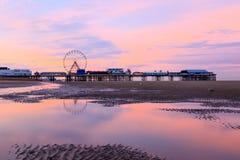 Красивый восход солнца Блэкпула в Великобритании Стоковое Фото