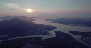 Красивый восход солнца вида с воздуха Lumut Малайзии рано утром акции видеоматериалы