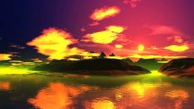 Красивый восход солнца над туманным островом видеоматериал
