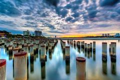 Красивый восход солнца на поляке конструкции abandone Стоковые Изображения