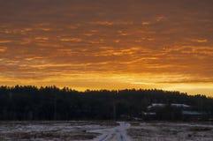 Красивый восход солнца утра и зимы яркий в январе Пригород и поле покрыли снег Стоковая Фотография RF