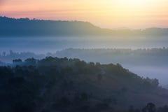 Красивый восход солнца зеленых холмов накаляя теплый, драматическое silhou блеска Стоковые Изображения RF