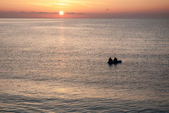 Красивый восход солнца над морем в Болгарии Стоковые Изображения RF
