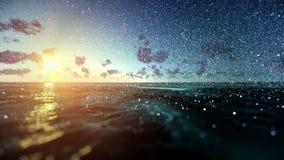 Красивый восход солнца над океаном, идя снег, наклон видеоматериал