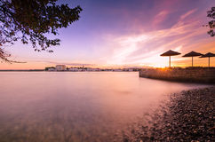 Красивый восход солнца на Porec в адриатическом морском побережье евро Хорватии Стоковая Фотография RF