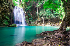 Красивый водопад, национальный парк Erawan, Таиланд Стоковая Фотография RF
