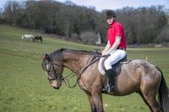 Красивый всадник мужской лошади верхом с белыми шароварами, черными ботинками и красной рубашкой поло в зеленом поле с лошадями в стоковое фото