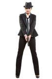 Красивый гангстер девушки держа оружие классицистическо стоковое изображение