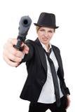 Красивый гангстер девушки держа оружие классицистическо стоковые изображения