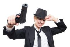 Красивый гангстер девушки держа оружие классицистическо стоковые фотографии rf