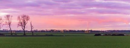 Красивый голландский ландшафт поля травы со зданиями в расстоянии, nacreous облака крася пинк неба и пурпурный, стоковые изображения