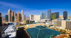 Красивый горизонт прокладки Лас-Вегас с гостиницой NY NY и казино - ЛАС-ВЕГАС - НЕВАДОЙ - 12-ое октября 2017 Стоковые Фотографии RF