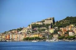 Красивый городок рыболова Portovenere около Cinque Terre, Ligur стоковое изображение rf