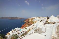 Красивый городок Oia, греческий остров Santorini Стоковые Изображения RF