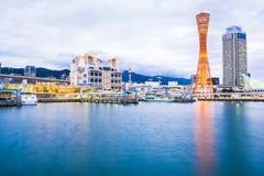 Красивый городской пейзаж со зданием архитектуры и ci башни Кобе стоковое фото