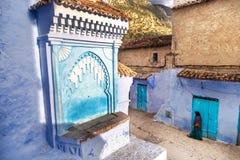 Красивый голубой medina Chefchaouen в Марокко Стоковая Фотография