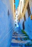 Красивый голубой medina Chefchaouen, Марокко Стоковое Изображение RF