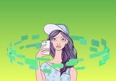 Красивый девочка-подросток с smartphone в круге текстовых сообщений и речи клокочет Социальная принципиальная схема средств линия Стоковое Изображение RF