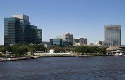 Красивый Джексонвилл, фонтан приятельства Флориды и Riverwal Стоковое Изображение RF