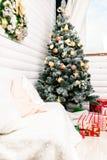 Красивый дизайн интерьера рождества Концепция рождества, зимы и Нового Года Стоковое Изображение RF