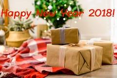Красивый дизайн интерьера рождества с счастливым Новым Годом phr 2018 Стоковое фото RF