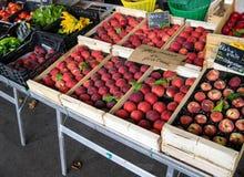 Красивый дисплей свежего peche персиков лета Стоковые Фотографии RF