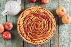 Красивый домодельный розовый пирог с сырцовыми яблоками на животиках сини яичка робина Стоковые Изображения