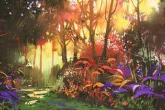 Красивый лес с солнечным светом иллюстрация штока