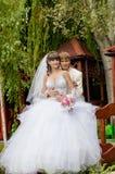 красивый жених и невеста smilling Стоковые Фотографии RF