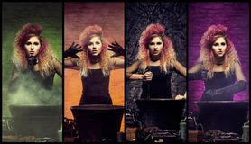 Красивый женский волшебник делая колдовство Стоковое Изображение RF