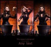 Красивый женский волшебник делая колдовство Стоковые Фотографии RF