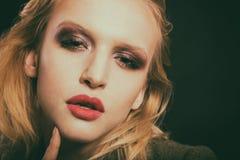 Красивый женский конец-вверх глаза, состав стоковое изображение rf