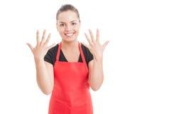 Красивый женский показ 10 работника Стоковое фото RF